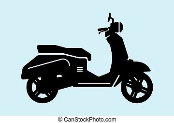 scooter - Motorcycles vector illustration in black on a blue...