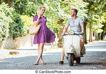 scooter, mulher, jovem, dela, namorado
