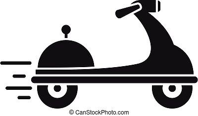 scooter, nourriture, style, livraison, simple, icône