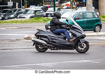 scooter on the city road with helmet
