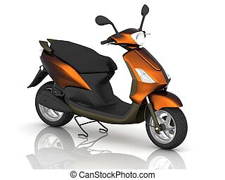 Scooter on white background