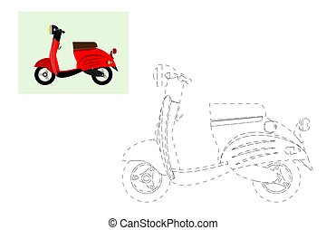 scooter., pédagogique, coloring., simple, illustration, jeu, vecteur, moteur, children.