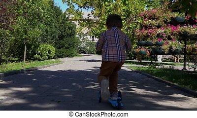 scooter, petit garçon, promenades