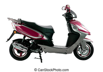 scooter - purple, black and silver scooter isolated on white...