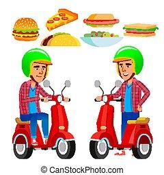 scooter., pizza., serviço, apartamento, alimento, isolado, ilustração, entrega, vermelho, vector., caricatura, man.