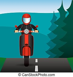 Scooter rides on asphalt roads in the forest. Vector Image.