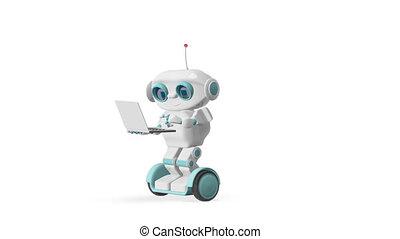 scooter, robot, animation, alpha, ordinateur portable, canal, 3d