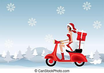 Scooter Santa Girl