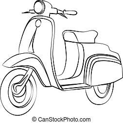 scooter, schets