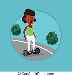 scooter., self-balancing, אישה, חשמלי, רכוב