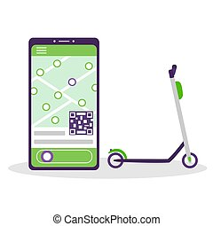 Scooter sharing. Electric lime kick scooter. Phone application with a map and a button for renting and booking urban modern transport. Vector flat illustration