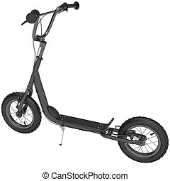 scooter, sommet, coup de pied, vue