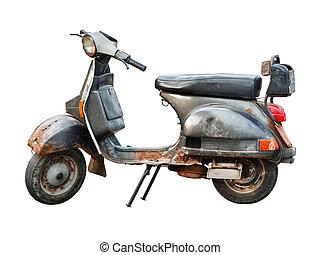 scooter, vecchio, sfondo bianco