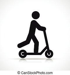 scooter, vecteur, conception, symbole, icône