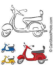 scooter, vecteur, illustration