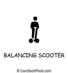 scooter, vecteur, plat, icône, équilibrage
