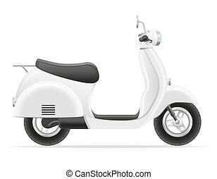 scooter, vetorial, retro, ilustração