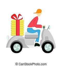 scooter., vezetés, háttér., ábra, felszabadítás, moped., vektor, fehér, ember, pizza