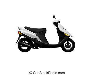 scooter, vrijstaand, moto, zijaanzicht