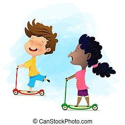 scooters., illustration., concept, multi-ethnique, gosses, équitation, week-ends