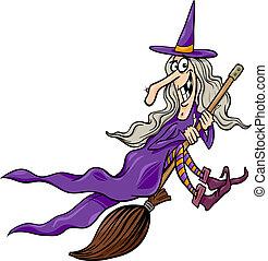 scopa, strega, cartone animato, illustrazione