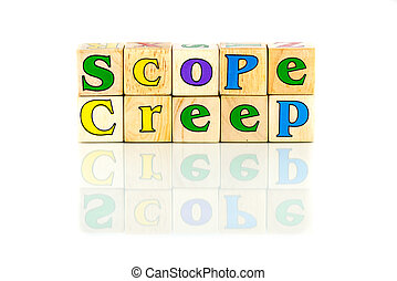 scope creep colorful words on the white background