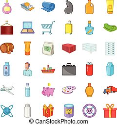 Scope of delivery icons set, cartoon style