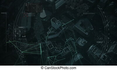 Digital composite video of network of connections, data processing and scope scanning over aerial view of cityscape. Global networking and connection concept