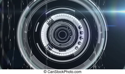 Animation of digital interface data processing with scopes scanning and recording. Global technology online network concept digitally generated image.