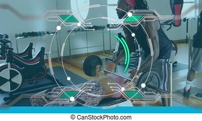 Animation of digital interface with scope scanning and data processing over woman doing weight training with her male coach. Global computer network technology concept digitally generated image.