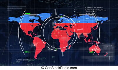 Digital animation of scope scanning over world map turning red against data processing. Digital computer interface concept