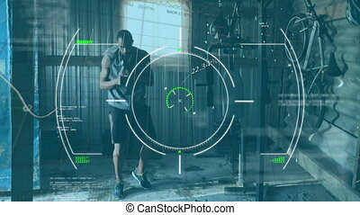 Animation of digital interface with scopes scanning and data processing over man exercising, boxing. Global computer network technology concept digitally generated image.