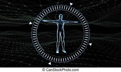 Digital composite video of Scope scanning over 3D human body model over digital waves against black background