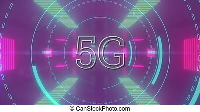 Animation of 5G text with digital interface scope scanning over pink glowing background. Global digital online concept digitally generated image.