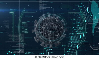 Digital animation of Scope scanning over Covid-19 cell over financial data processing against world map in background. Covid 19 medical research interface concept