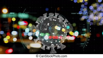 Animation of Covid 19 cell and scope scanning over out of focus traffic and city lights. Global coronavirus Covid 19 pandemic concept digitally generated image.