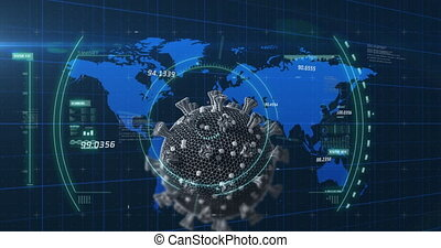 Animation of Covid-19 cell, scope scanning with number of cases going up and down over blue world map on dark blue background. Global finances business concept digitally generated image.