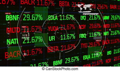 Digital animation of Scope scanning over Stock market and Financial data processing against black background. Global economy stock market concept