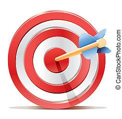 scopo, arrow., bersaglio, rosso, freccette