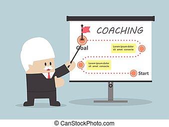 scopo, come, insegnamento, uomo affari, anziano, ottenere