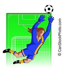 scopo, football, /, femmina, custode, calcio