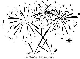 scoppio, astratto, fireworks, vettore, nero, bianco