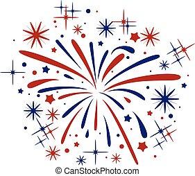 scoppio, astratto, vettore, fireworks