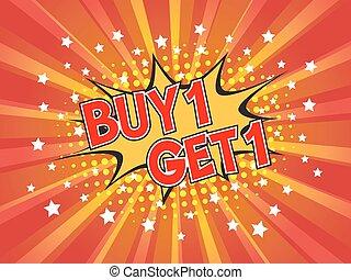 scoppio, discorso, buy1, fondo, libero, get1, comico, bolla, dicitura