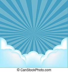 scoppio, fondo, con, nubi