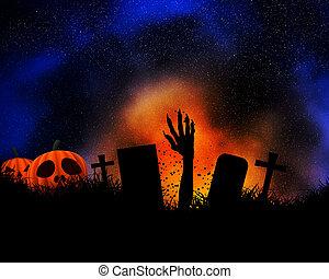 scoppio, halloween, mano, zombie, fondo, fuori, suolo