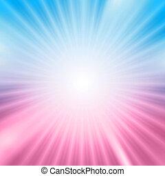 scoppio leggero, sopra, blu, e, sfondo rosa