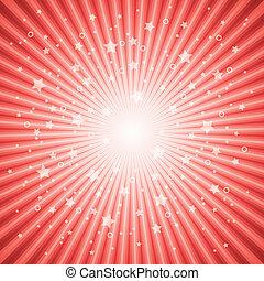 scoppio stella, astratto, vettore, fondo, rosso
