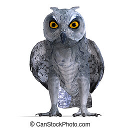 Scops Owl Bird. 3D rendering with clipping path and shadow...