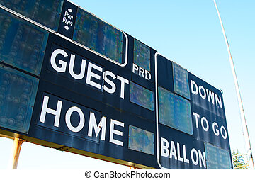 Score board - A shot of a score board on a football stadium